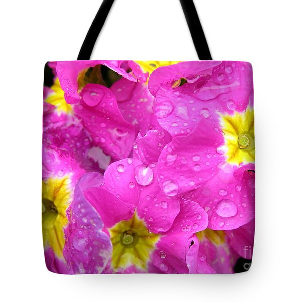 Raindrops on Pink Flowers 2 Tote Bag by Carol Groenen