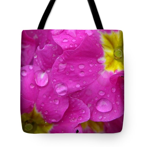 Raindrops on Pink Flowers Tote Bag by Carol Groenen