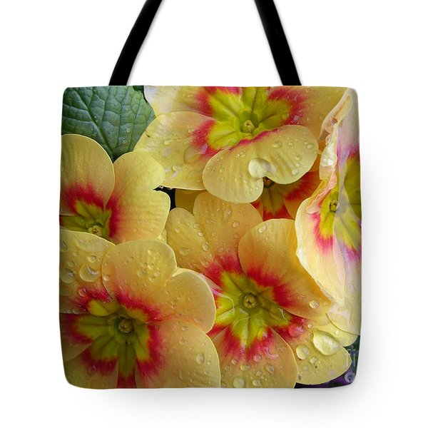 Raindrops On Yellow Flowers Tote Bag by Carol Groenen