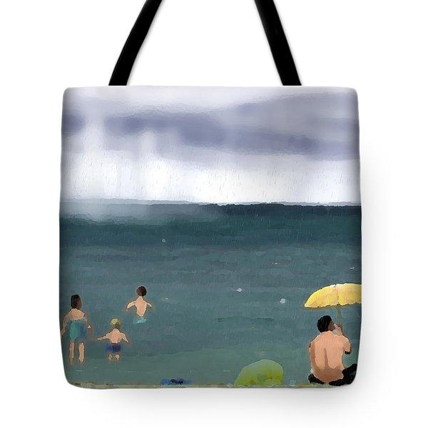 Rainy Beach Tote Bag by Arline Wagner