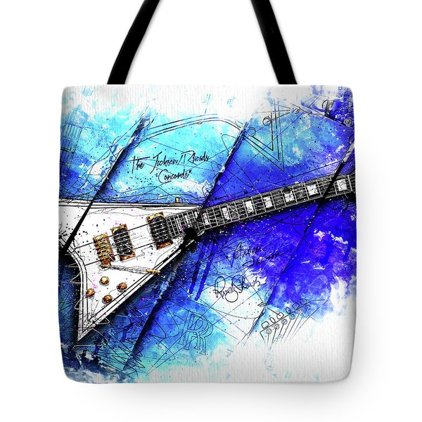 Randy's Guitar On Blue II Tote Bag by Gary Bodnar