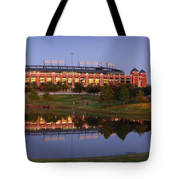 Rangers Ballpark In Arlington At Dusk Tote Bag by Jon Holiday