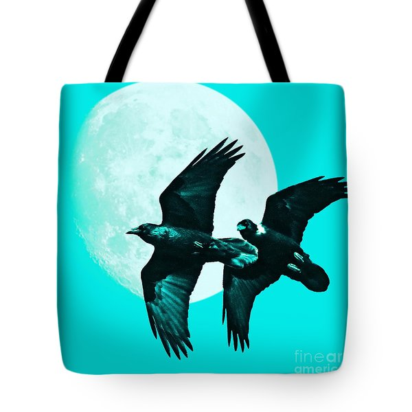 Ravens of the Moon . Cyan Square Tote Bag by Wingsdomain Art and Photography