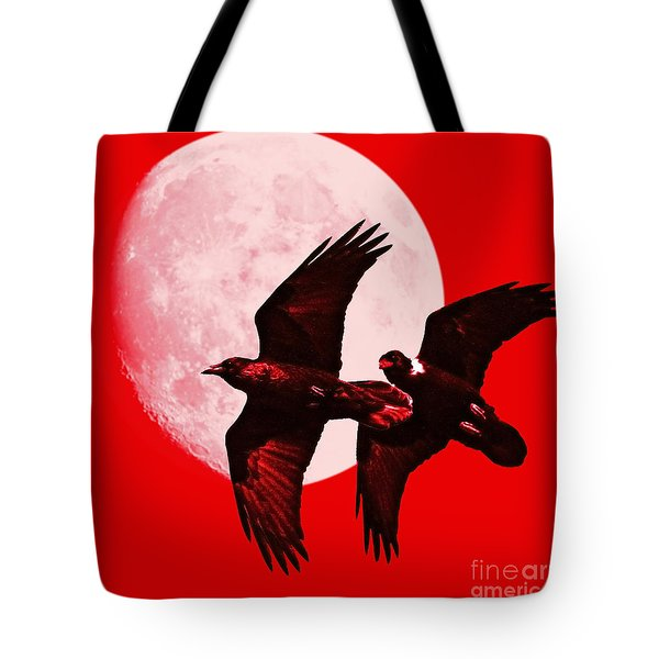 Ravens Of The Moon . Red Square Tote Bag by Wingsdomain Art and Photography