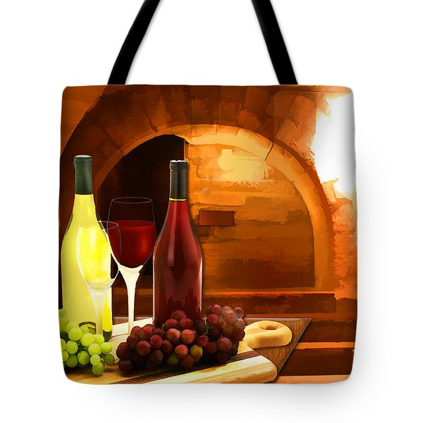 Red and White in the Cellar Tote Bag by Elaine Plesser