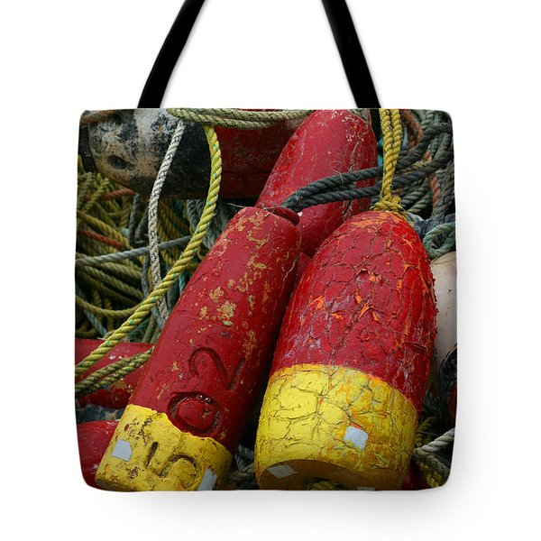 Red And Yellow Buoys Tote Bag by Carol Leigh