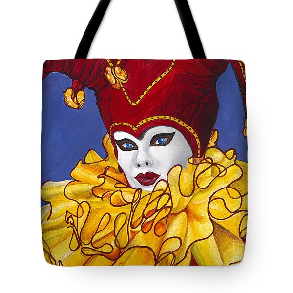 Red And Yellow Carnival Jester Tote Bag by Patty Vicknair
