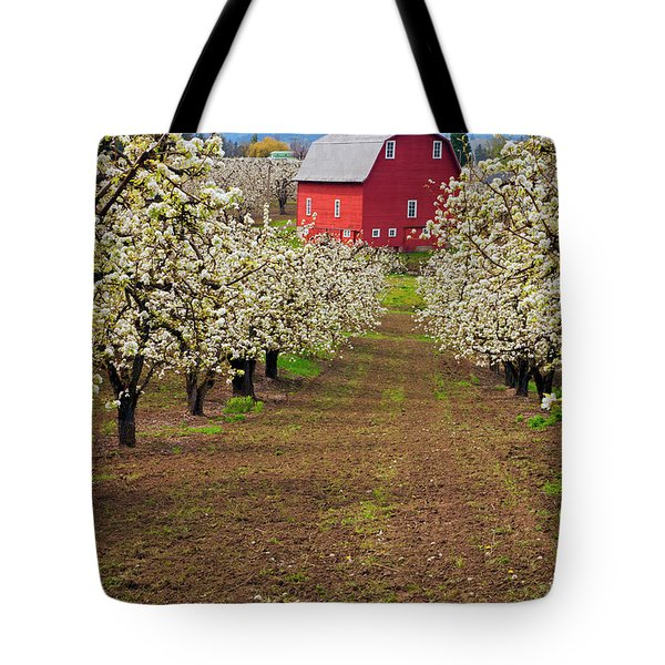 Red Barn Avenue Tote Bag by Mike  Dawson