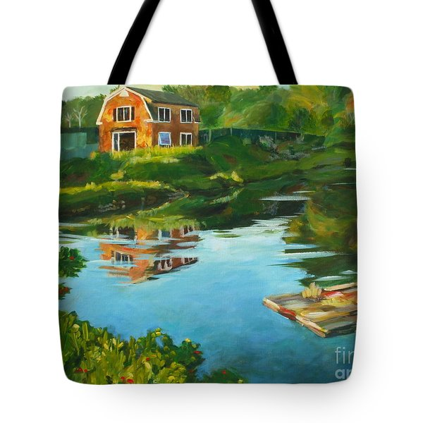 Red Barn In Kennebunkport Me Tote Bag by Claire Gagnon