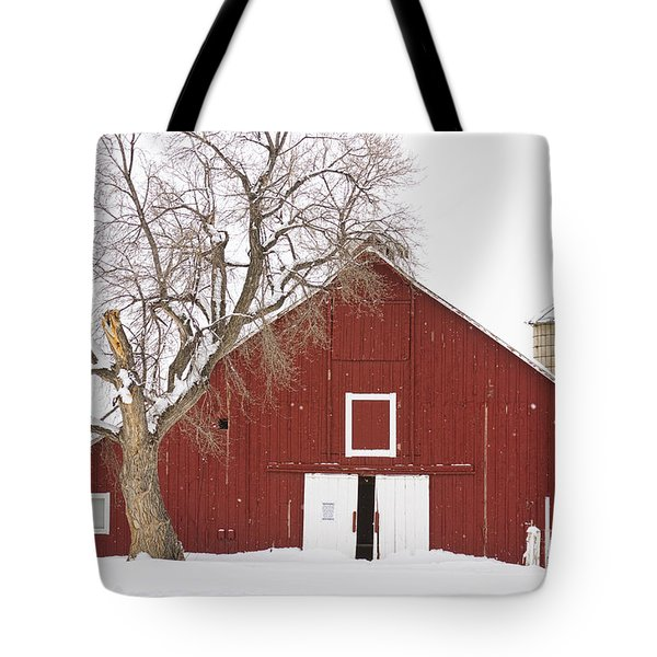 Red Barn Winter Country Landscape Tote Bag by James BO  Insogna