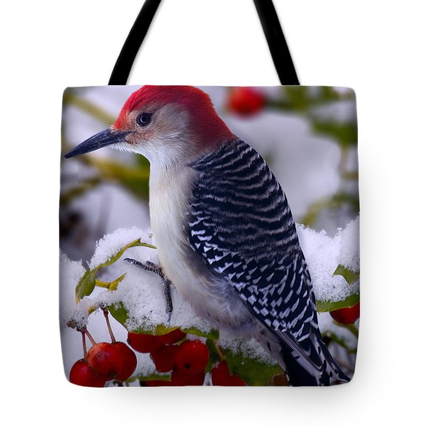 Red Bellied Woodpecker Tote Bag by Ron Jones