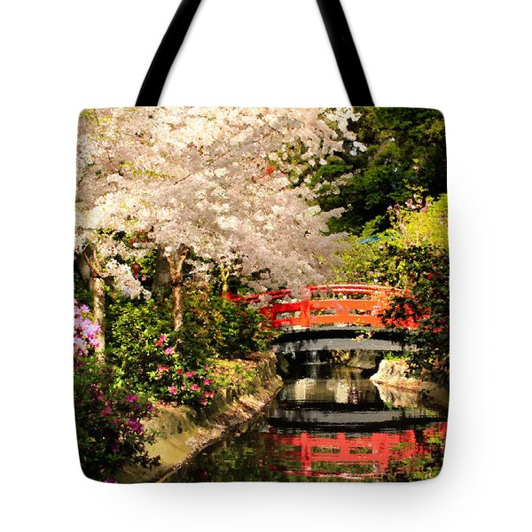 Red Bridge Reflection Tote Bag by James Eddy