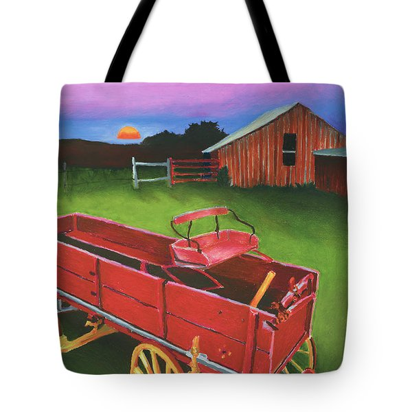 Red Buckboard Wagon Tote Bag by Stephen Anderson
