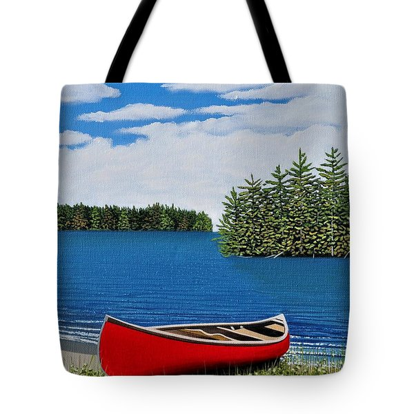 Red Canoe Tote Bag by Kenneth M  Kirsch
