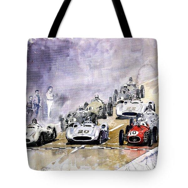 Red Car Maserati 250 France GP Tote Bag by Yuriy  Shevchuk