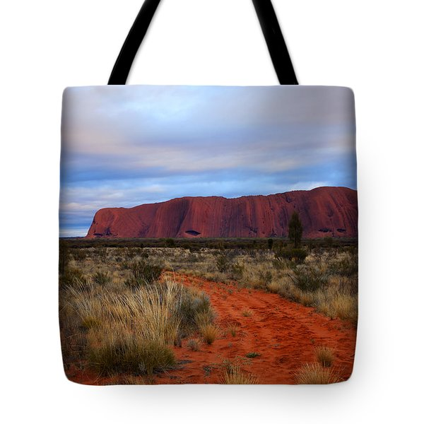 Red Center Dawn Tote Bag by Mike  Dawson