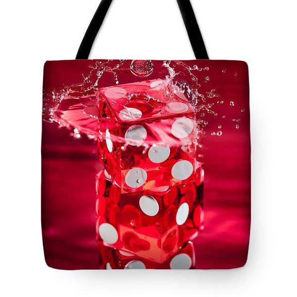 Red Dice Splash Tote Bag by Steve Gadomski