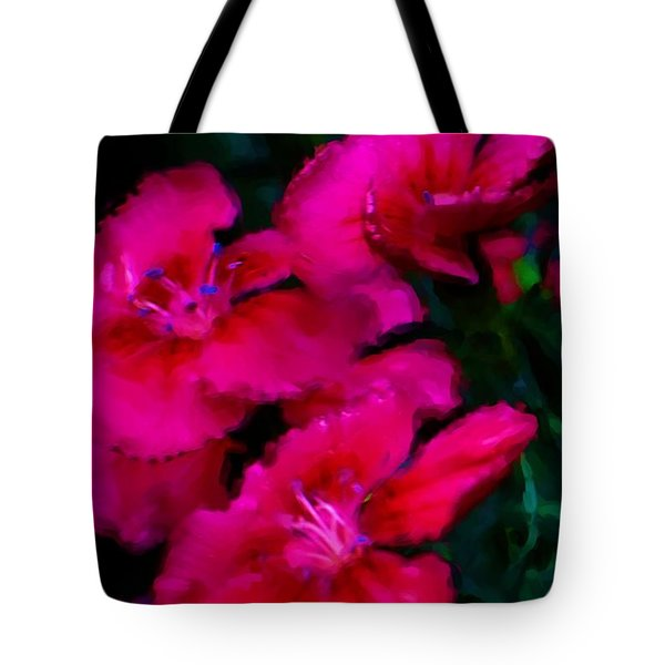 Red Floral Study Tote Bag by David Lane