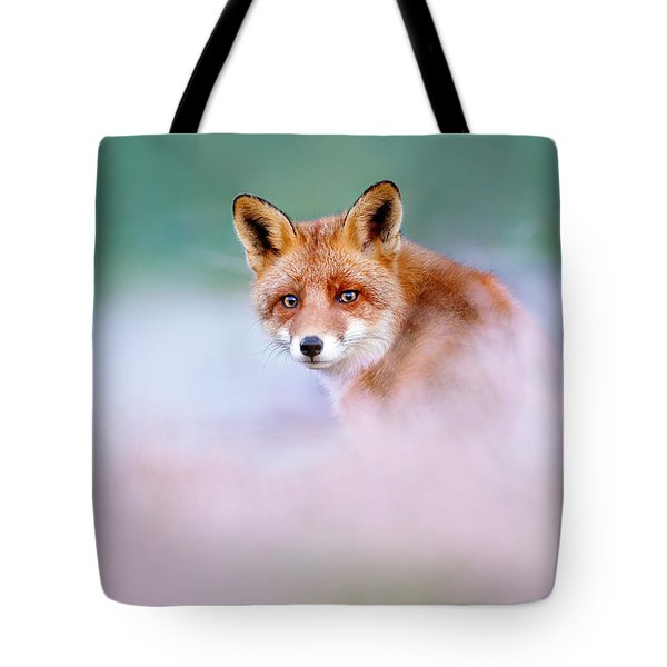 Red Fox In A Mysterious World Tote Bag by Roeselien Raimond