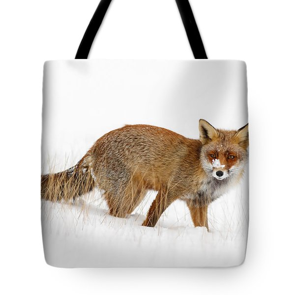 Red Fox In A Snow Covered Scene Tote Bag by Roeselien Raimond