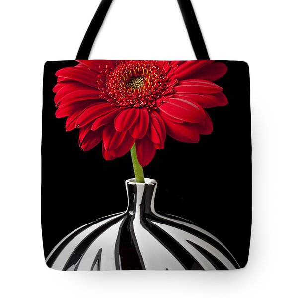 Red Gerbera Daisy Tote Bag by Garry Gay