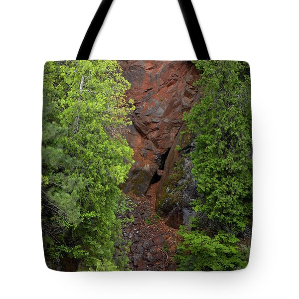 Red Gorge with Cedar Trees Tote Bag by Cynthia Dickinson