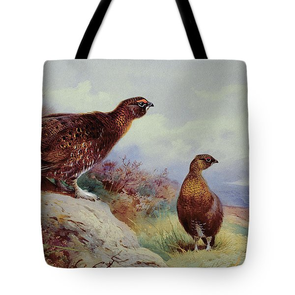 Red Grouse On The Moor, 1917 Tote Bag by Archibald Thorburn