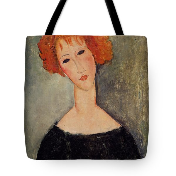Red Head Tote Bag by Amedeo Modigliani