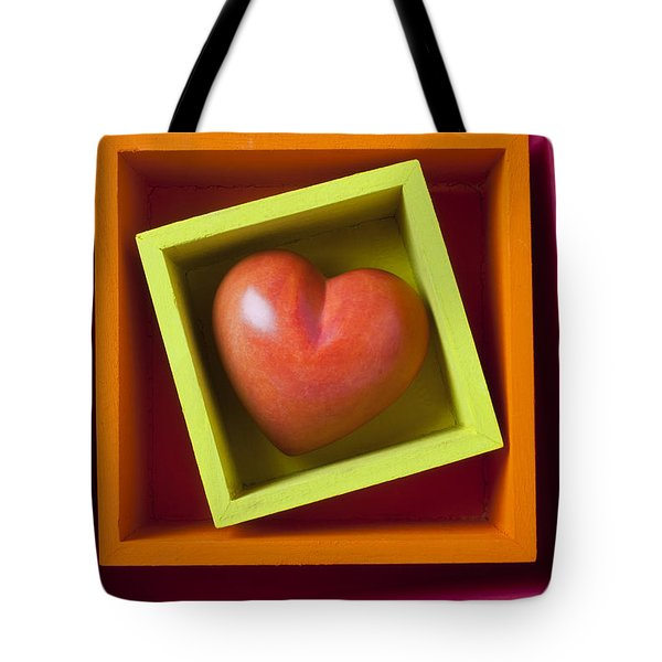 Red Heart In Box Tote Bag by Garry Gay