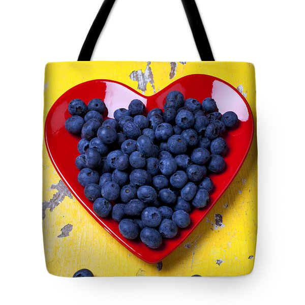 Red Heart Plate With Blueberries Tote Bag by Garry Gay