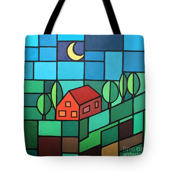 Red House Amidst The Greenery Tote Bag by Jutta Maria Pusl