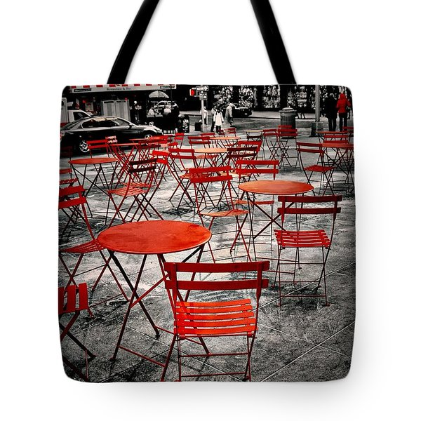 Red In My World - New York City Tote Bag by Angie Tirado