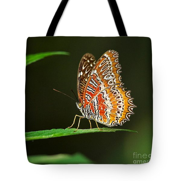Red Lacewing Butterfly Tote Bag by Louise Heusinkveld