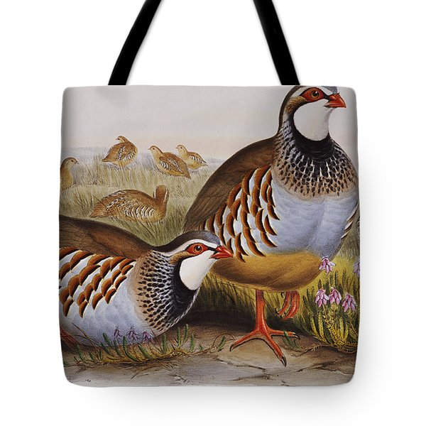 Red-legged Partridges Tote Bag by John Gould
