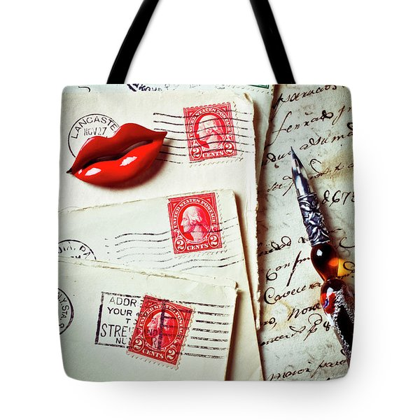 Red Lips Pin And Old Letters Tote Bag by Garry Gay