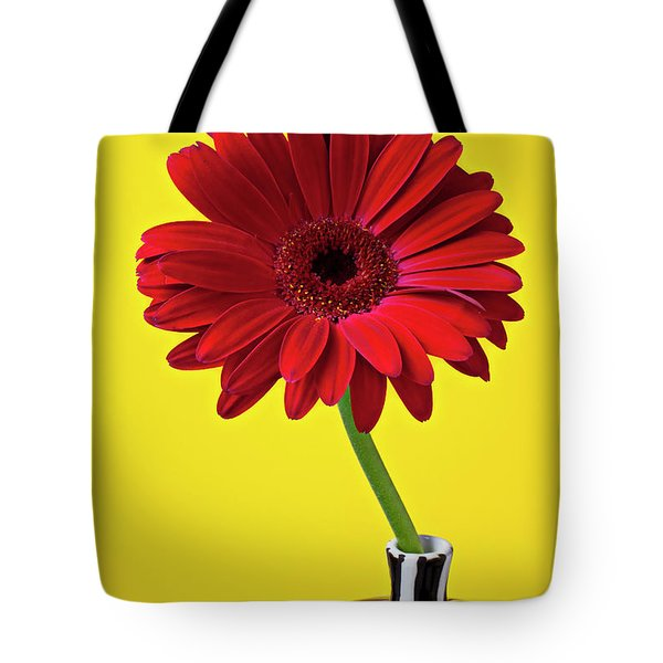 Red Mum Against Yellow Background Tote Bag by Garry Gay