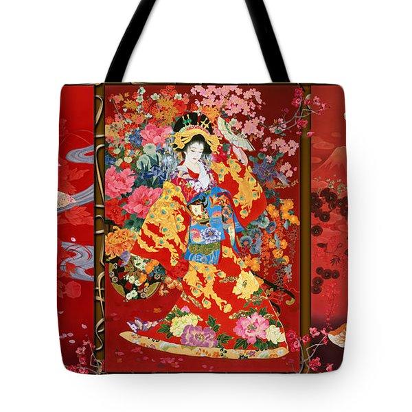 Red Oriental Trio Tote Bag by Haruyo Morita