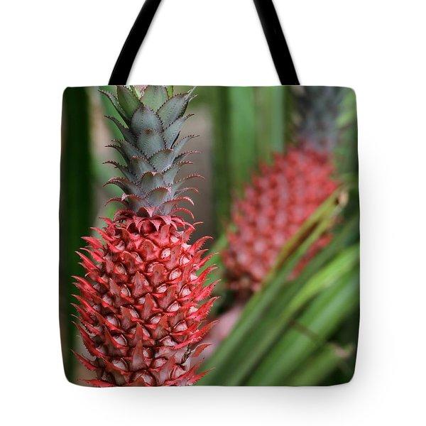 Red Pineapples Tote Bag by Sabrina L Ryan