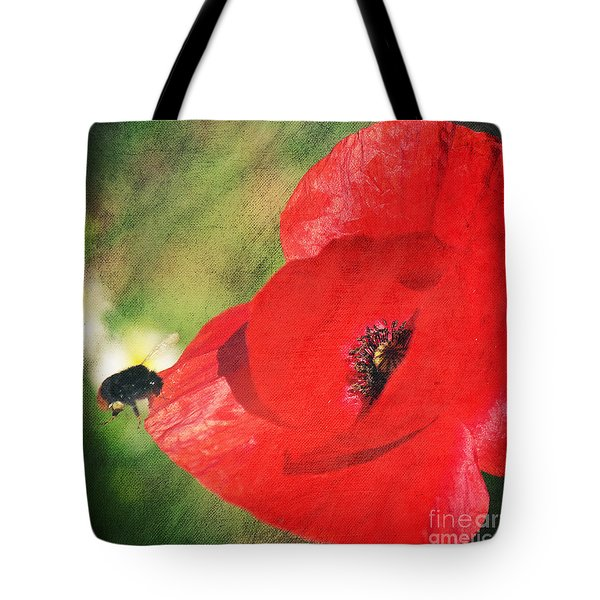 Red poppy impression Tote Bag by Angela Doelling AD DESIGN Photo and PhotoArt