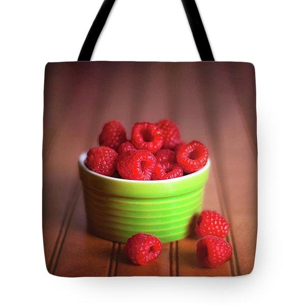 Red Raspberries Still Life Tote Bag by Tom Mc Nemar