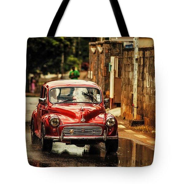 Red Retromobile. Morris Minor Tote Bag by Jenny Rainbow