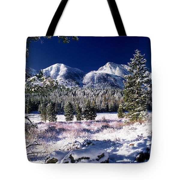 Red Rock Pass Winter Tote Bag by Leland D Howard