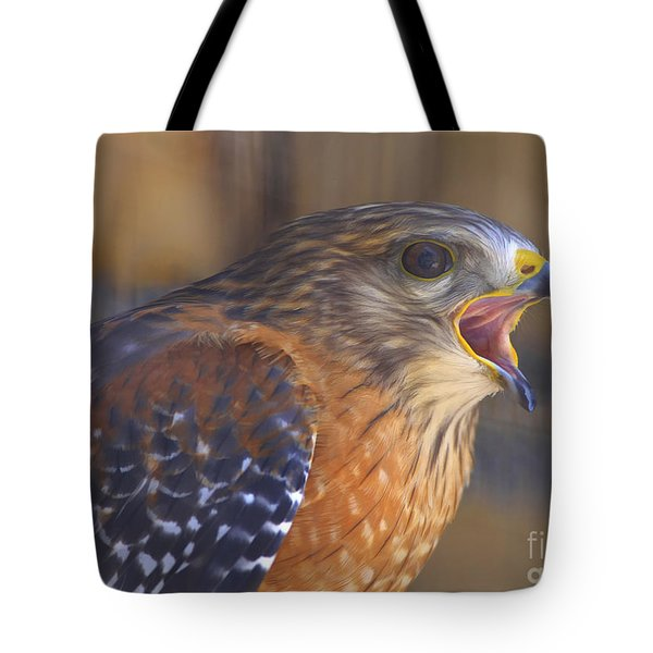 Red Shoulder Hawk Tote Bag by Deborah Benoit