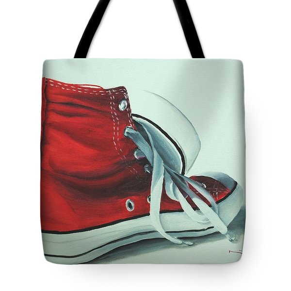 Red Sneakers Tote Bag by Nolan Clark