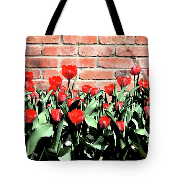 Red Spring Tulips 2 Tote Bag by Angelina Vick