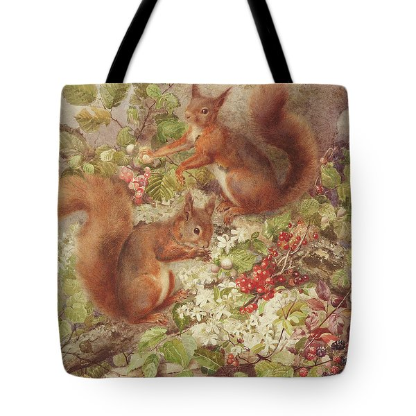 Red Squirrels Gathering Fruits And Nuts Tote Bag by Rosa Jameson
