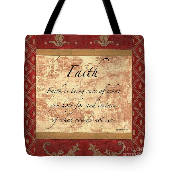 Red Traditional Faith Tote Bag by Debbie DeWitt
