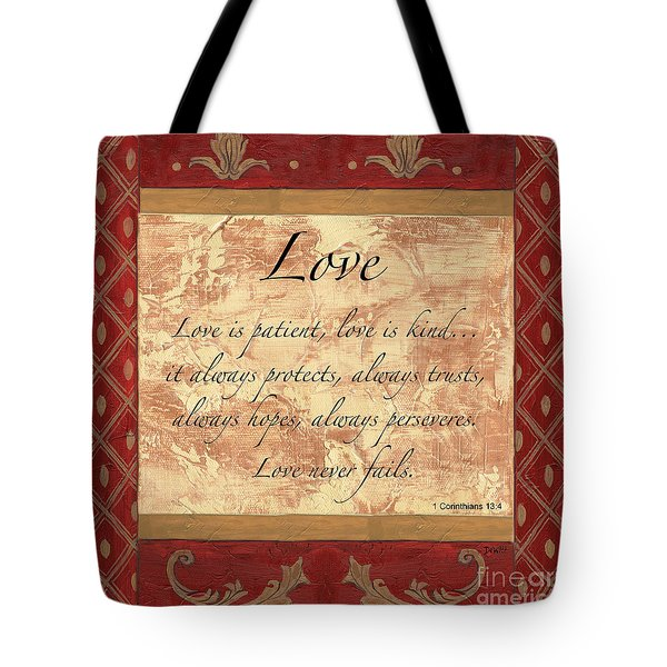 Red Traditional Love Tote Bag by Debbie DeWitt