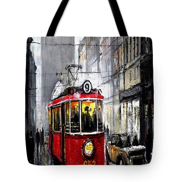 Red Tram Tote Bag by Yuriy  Shevchuk