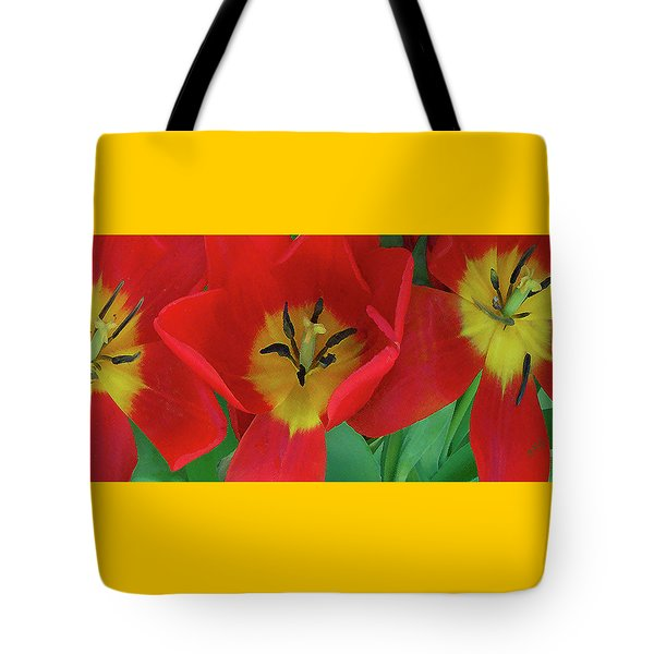 Red Tulip Trio Tote Bag by Ben and Raisa Gertsberg